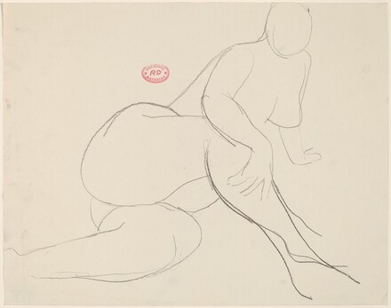 Untitled [seated female nude holding her leg with her right hand]