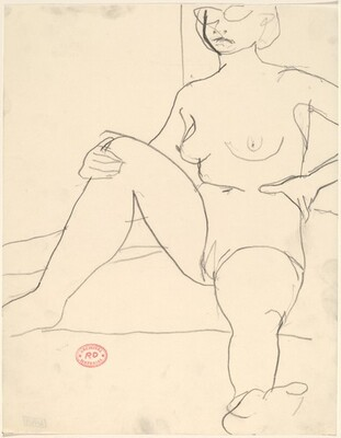 Untitled [seated female nude wearing glasses]