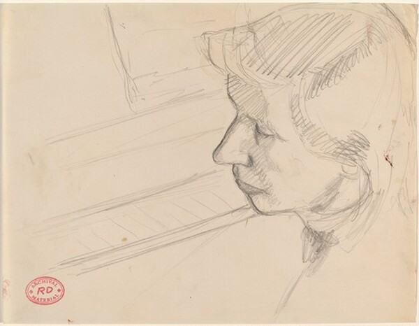 Untitled [woman's head and a keyboard]