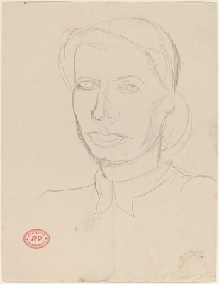 Untitled [head of a woman with articulated shirt collar]