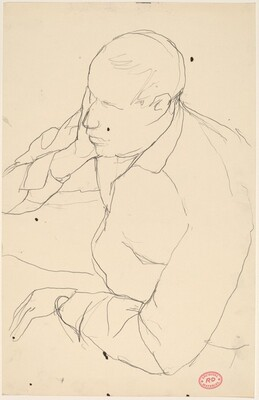 Untitled [man resting head on hand]
