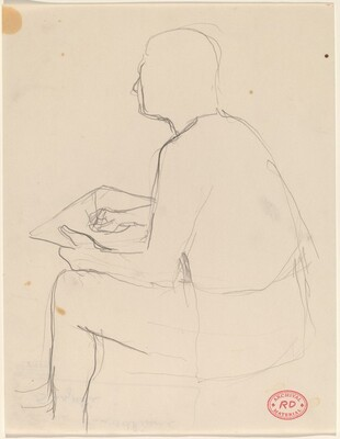 Untitled [side view of man seated and sketching]