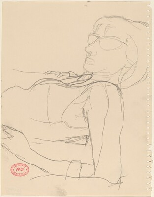 Untitled [woman in glasses leaning back on her elbows]