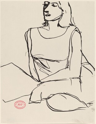 Untitled [woman in a sleeveless dress seated with pillows]