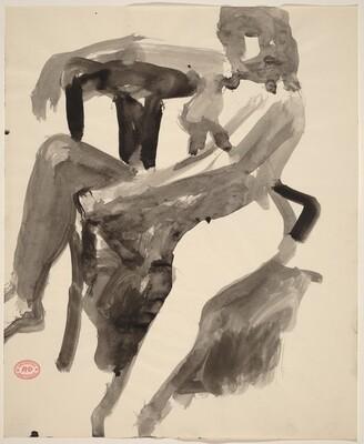 Untitled [female nude resting sideways in chair]
