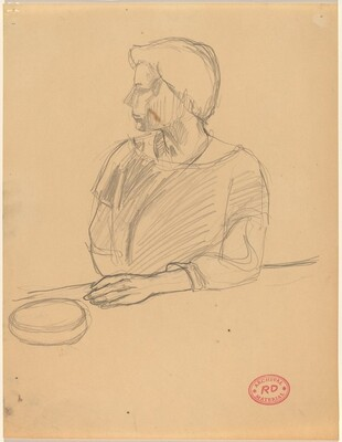 Untitled [figure resting left arm on a ledge]