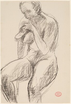 Untitled [seated nude holding her shoe]