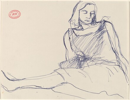 Untitled [woman in a dress seated on the floor]