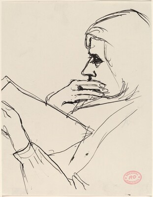Untitled [woman holding her chin and reading]