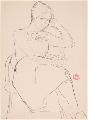 Untitled [seated woman in a short-sleeved dress]