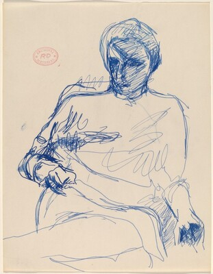 Untitled [seated woman grasping with her right hand]