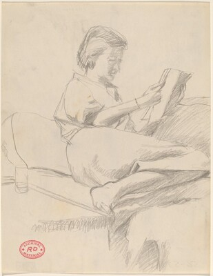 Untitled [woman on a sofa reading]