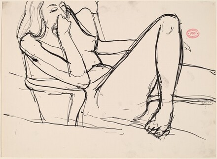 Untitled [seated nude with her leg bent and hand to mouth]