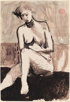 Untitled [seated female nude arranging her left foot]