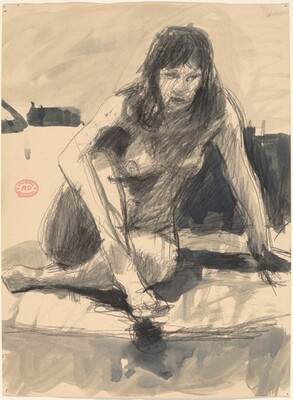 Untitled [female nude seated cross-legged and leaning on left arm]