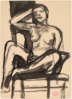 Untitled [seated female nude with right arm on chair back]