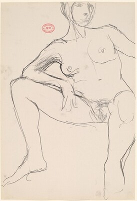 Untitled [seated female nude resting her right arm on her leg]