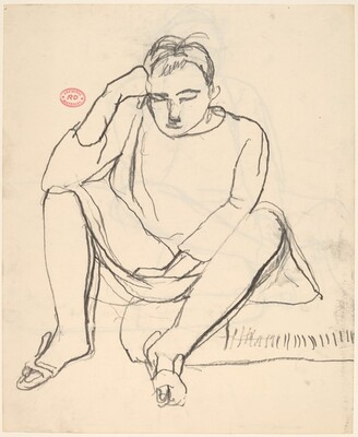 Untitled [woman seated at the edge of a cushion]
