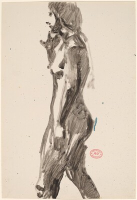 Untitled [side view of female nude with right hand raised]