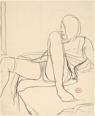 Untitled [female nude on lying back on bed with dress open]