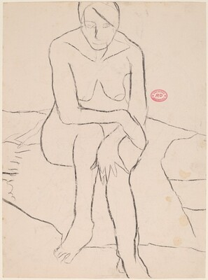 Untitled [front view of a female nude seated on a bed] [recto]