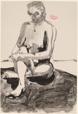 Untitled [seated female nude holding right leg]