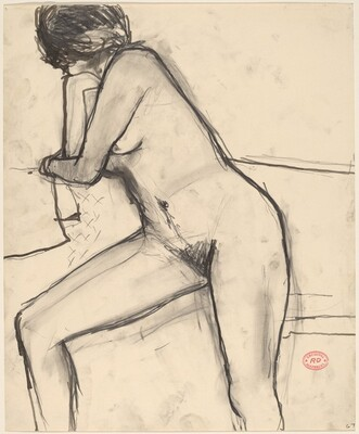 Untitled [female nude leaning against a support]
