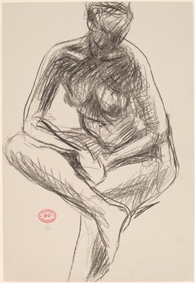 Untitled [seated nude leaning forward on crossed leg]