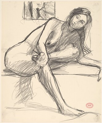 Untitled [seated nude with her leg crossed and leaning on her left arm]