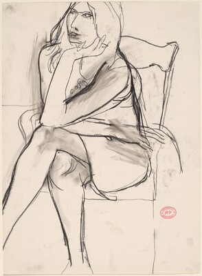 Untitled [seated woman crossing her legs]