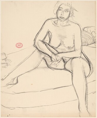 Untitled [female nude with clasped hands sitting on a bed]