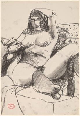 Untitled [female nude seated and reading] [recto]