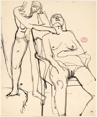 Untitled [standing female nude behind a seated female nude]
