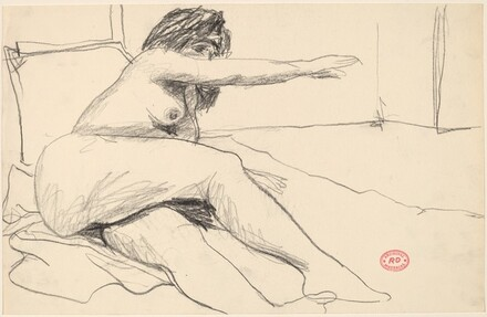 Untitled [relining nude reaching with her left arm]