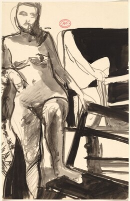 Untitled [standing female nude with left foot on chair seat]