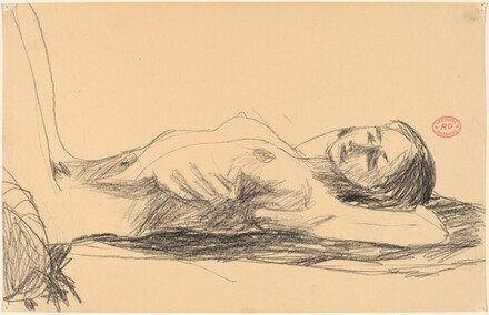 Untitled [female nude lying on her back with arms behind head]