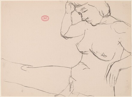 Untitled [seated female nude with right hand touching hair]