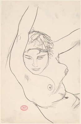 Untitled [head and torso of female nude with arms raised]