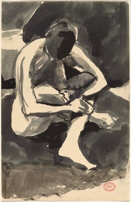 Untitled [seated nude embracing her crossed legs]