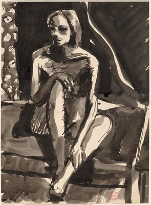 Untitled [seated nude holding her knee and shin]