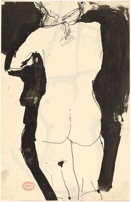 Untitled [back view of standing nude with her left arm raised] [recto]