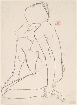 Untitled [side view of female nude kneeling on one leg] [recto]