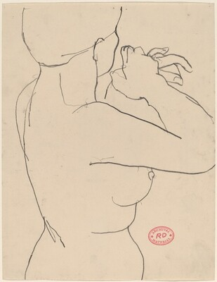 Untitled [side view of nude with her arms raised in surprise]