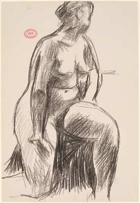 Untitled [female nude resting on right knee and looking away]