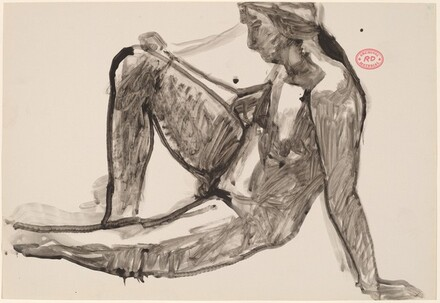 Untitled [side view of seated nude leaning back on her left arm]