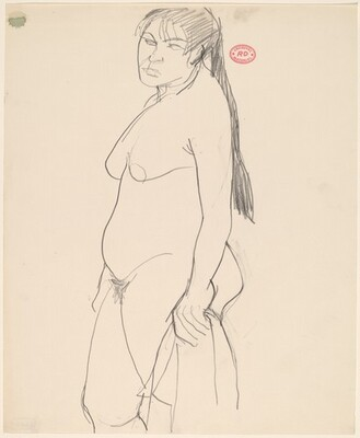 Untitled [standing female nude with long ponytail]