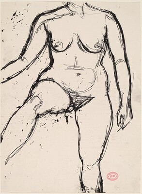 Untitled [neck-to-shin view of nude with her right leg lifted]
