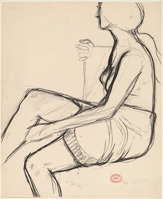 Untitled [seated woman in a skirt with a textured hemline]