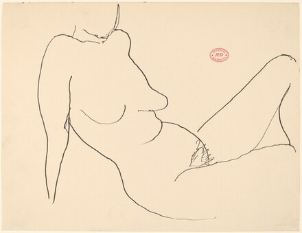 Untitled [female nude seated and leaning back on her arms]