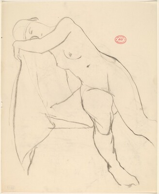Untitled [nude seated sideways resting her head and shoulder against seat back]